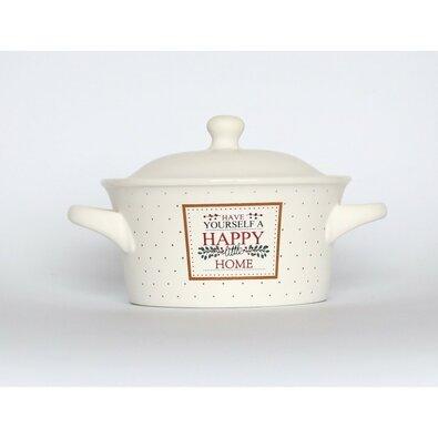 Altom Zapekacia miska s pokrievkou Happy Home 300 ml, biela