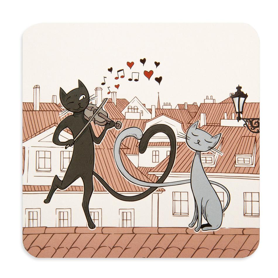 Korkové prostírání Kočky ve městě, 10 x 10 cm, sada 4 ks