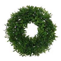 Levelek műkoszorú, zöld, átmérő: 27 cm