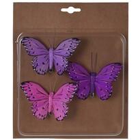 Koopman Sada motýľov na klipe 3ks, fialová