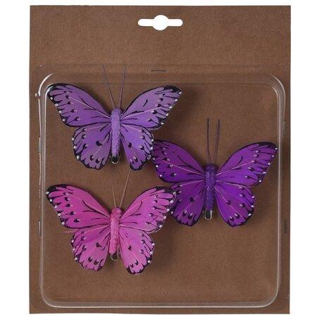 Koopman Sada motýlů na klipu 3ks, fialová