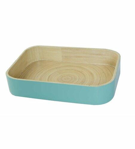 Bambusový organizér na kuchyňské doplňky Compactor 31.5. X 22.5 X 6 cm, lesklý lak Aqua