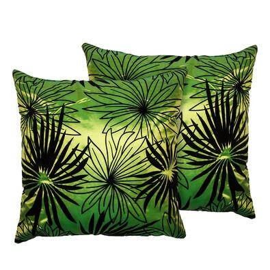 Poszewka na poduszkę Basic Kwiaty zielony, 40 x 40 cm, 2 szt.