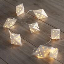 DecoKing Ozdobná papírová girlanda bílá, 10 LED