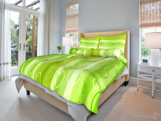 Bavlněné povlečení Kola zelená, 140 x 200 cm, 70 x, světle zelená, 140 x 200 cm, 70 x 90 cm