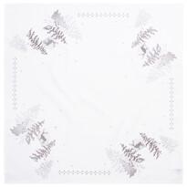 Vánoční ubrus Stromky stříbrná, 80 x 80 cm