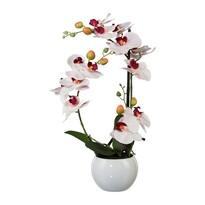 Orhidee artificială în ghiveci ceramic, alb, 42 cm