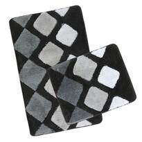 Sada kúpeľňových predložiek Ultra sivá dlaždice, 60 x 100 cm, 60 x 50 cm