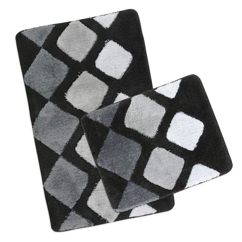Bellatex Sada kúpeľňových predložiek Ultra Šedé dlaždice,60 x 100 cm, 60 x 50 cm