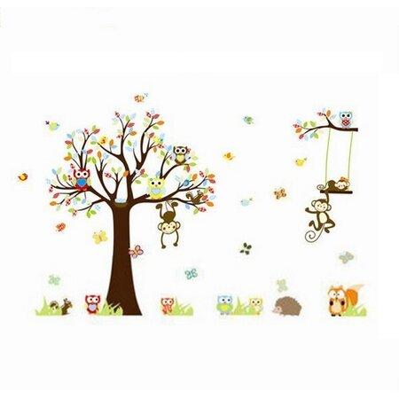 Samolepka na zeď Samolepka pohádkový strom sovičky, opice 150 cm