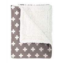 Pătură imitaţie lână Mistral Home Cross, maro, 130 x 170 cm