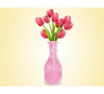 Váza skladací růžová, růžová, 19 x 28 cm