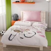 Lenjerie de pat din bumbac Paris Love, 140 x 200 cm, 70 x 90 cm