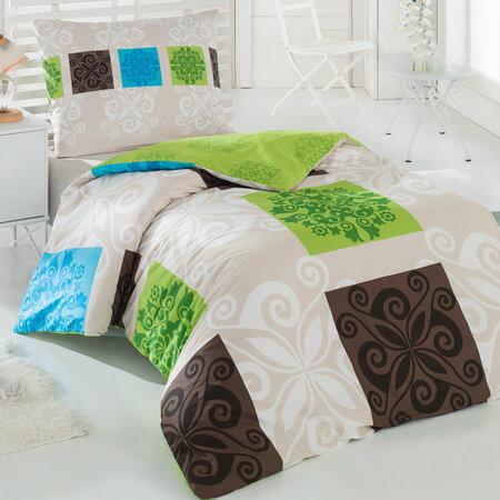 Bavlněné povlečení Sedef zelená, 140 x 200 cm, 70 x 90 cm
