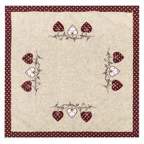 Szívecske karácsonyi abrosz, pöttyös, piros, 85 x 85 cm