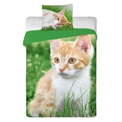 Bavlněné povlečení Zrzavá kočka, 140 x 200 cm, 70 x 90 cm