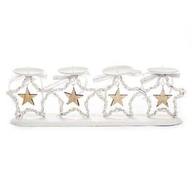Stojan na 4 svíčky ratanový hvězda