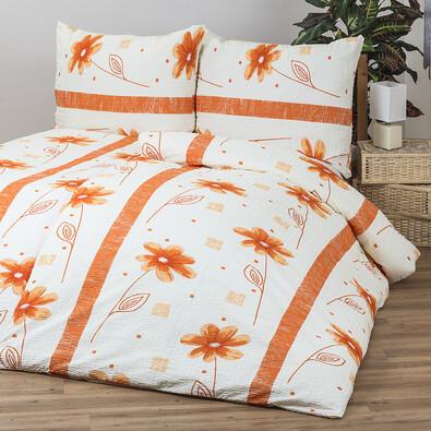 Krepové povlečení Anežka oranžová, 140 x 200 cm, 70 x 90 cm