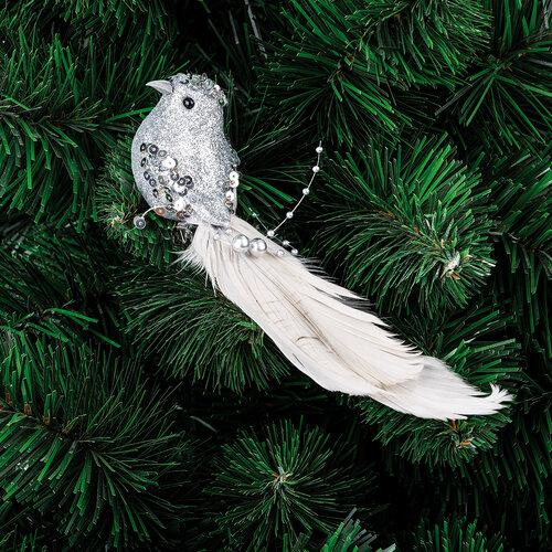 Karácsonyfa dísz madár ezüst, 21 cm