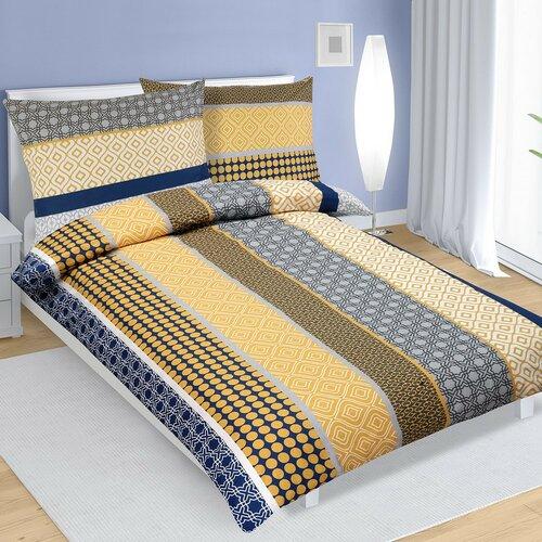 Bavlnené obliečky Pruhy modro-žltá, 140 x 200 cm, 70 x 90 cm