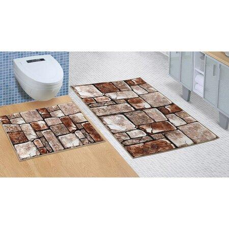 Kúpeľňová sada bez vykrojenia Kamenná dlažba, 60 x 100 cm, 60 x 50 cm