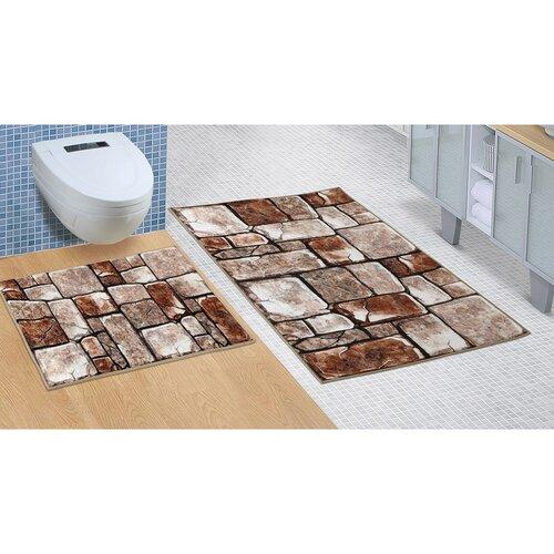Kőpadló fürdőszobai készlet kivágás nélkül, 60 x 100 cm, 60 x 50 cm