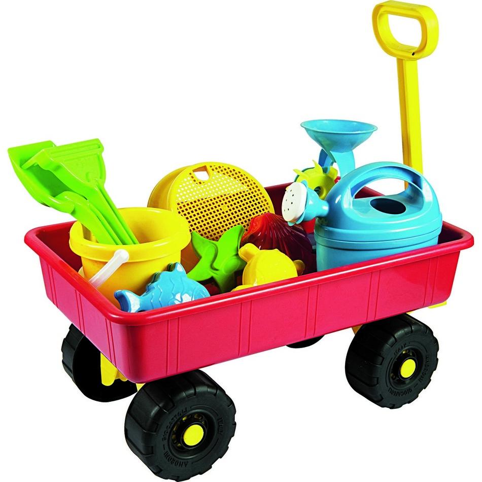 Fotografie Dětský zahradní vozík s příslušenstvím, červená