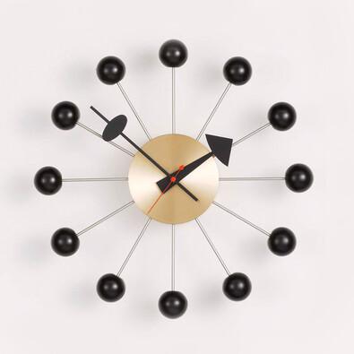 Nástěnné hodiny Ball clock 33 cm, černá mosaz
