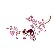 Naklejka dekoracyjna marząca małpka