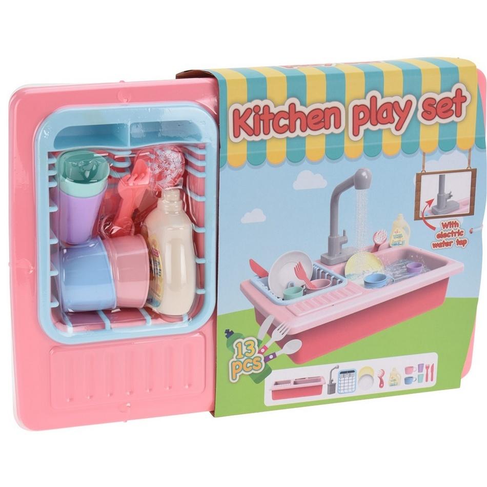Detský kuchynský set s tečúcou vodou, sada 13 ks, ružová