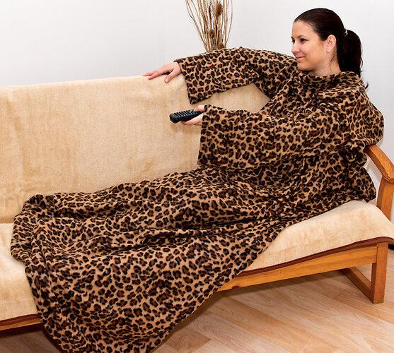 fleecová deka s rukávmi, hnedá, 140 x 190 cm