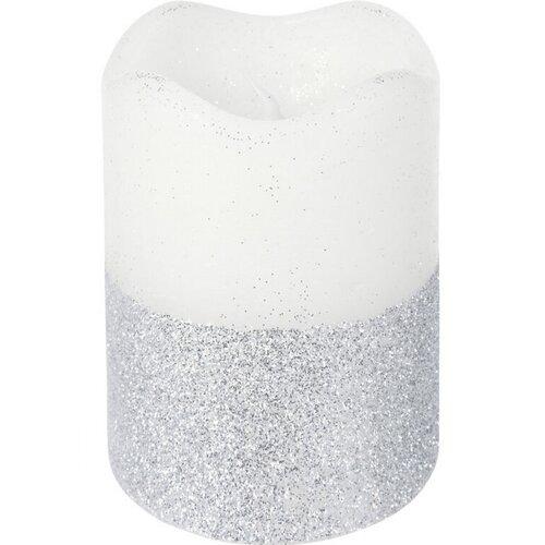 LED svíčka s časovačem 7 x 9 cm, stříbrná