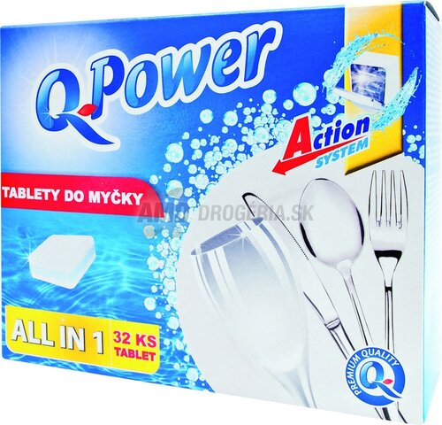 Q Power All in 1 tablety do umývačky, 32 ks