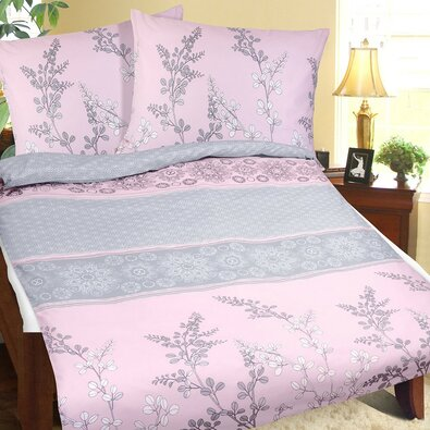 Bellatex Bavlnené obliečky Krík sivo-ružová, 140 x 200 cm, 70 x 90 cm