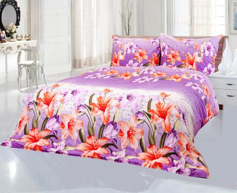 Bavlněné povlečení Liliana fialová, 220 x 200 cm, 2 ks 70 x 90 cm