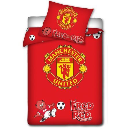 Lenjerie de pat pentru copii Manchester United roşu, 100 x 135 cm, 40 x 60 cm