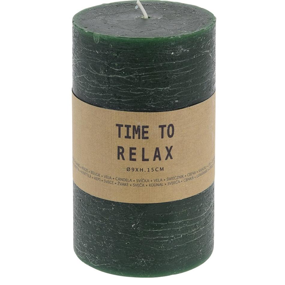 Dekorativní svíčka Time to relax zelená, 15 cm