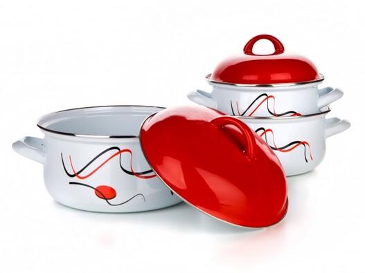 6dílná sada smaltovaného nádobí: 16, 18, 20 cm Car, bílá + červená