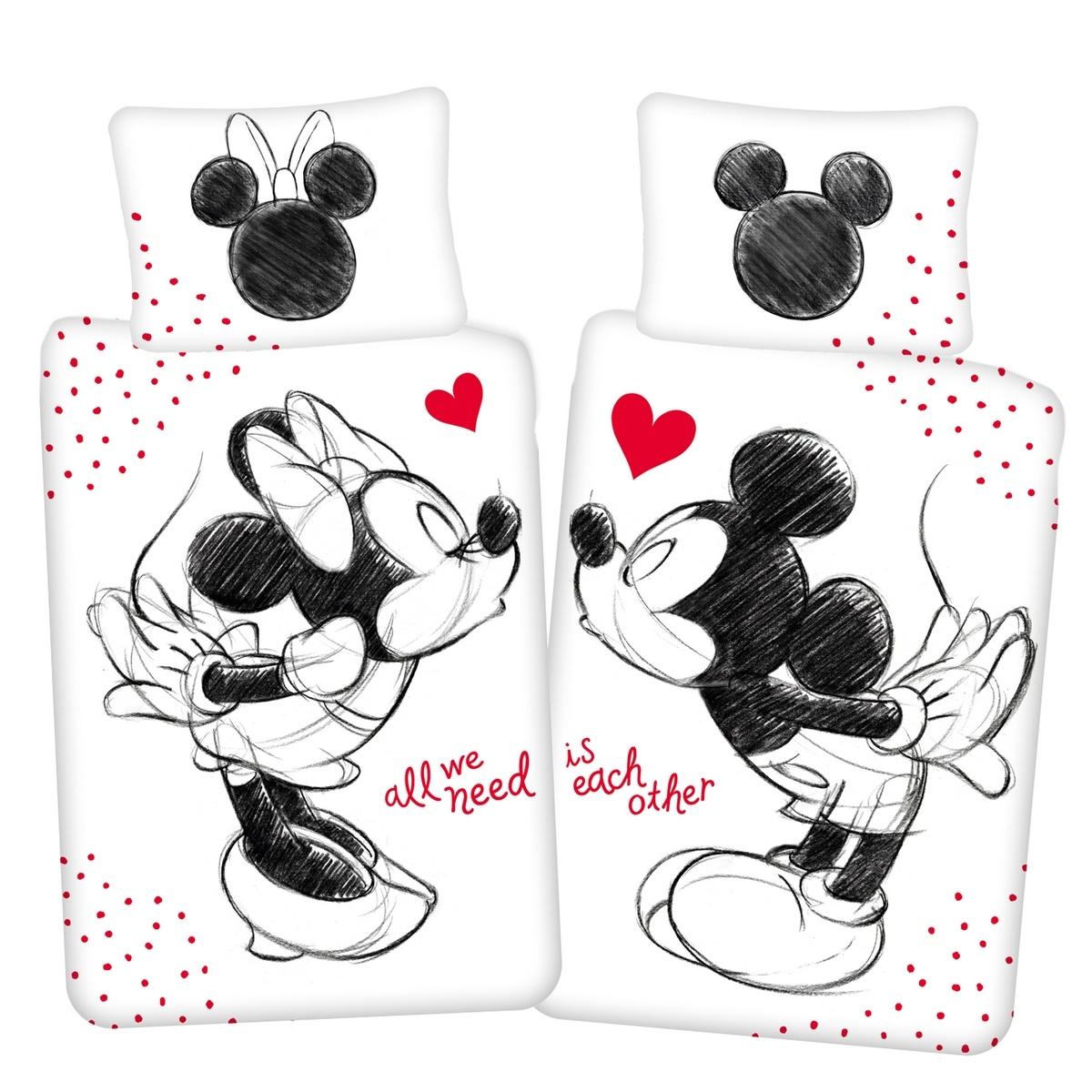 """Jerry Fabrics Detské bavlnené obliečky Mickey a Minnie """"All we need"""", 140 x 200 cm, 70 x 90 cm"""