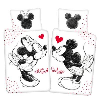 """Dziecięca pościel bawełniana Mickey a Minnie""""All we need"""", 140 x 200 cm, 70 x 90 cm"""