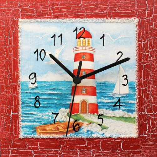 Dekoratívne nástenné hodiny Červený maják