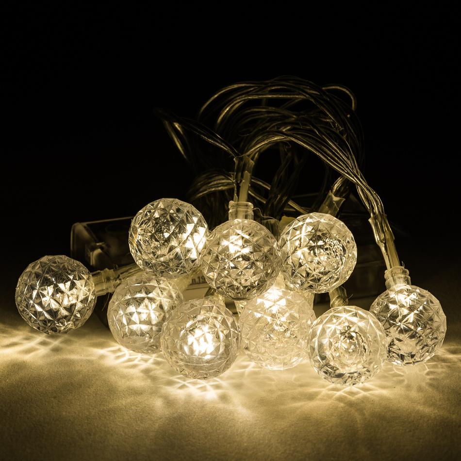 Světelný řetěz s ozdobnými kouličkami, 10 LED