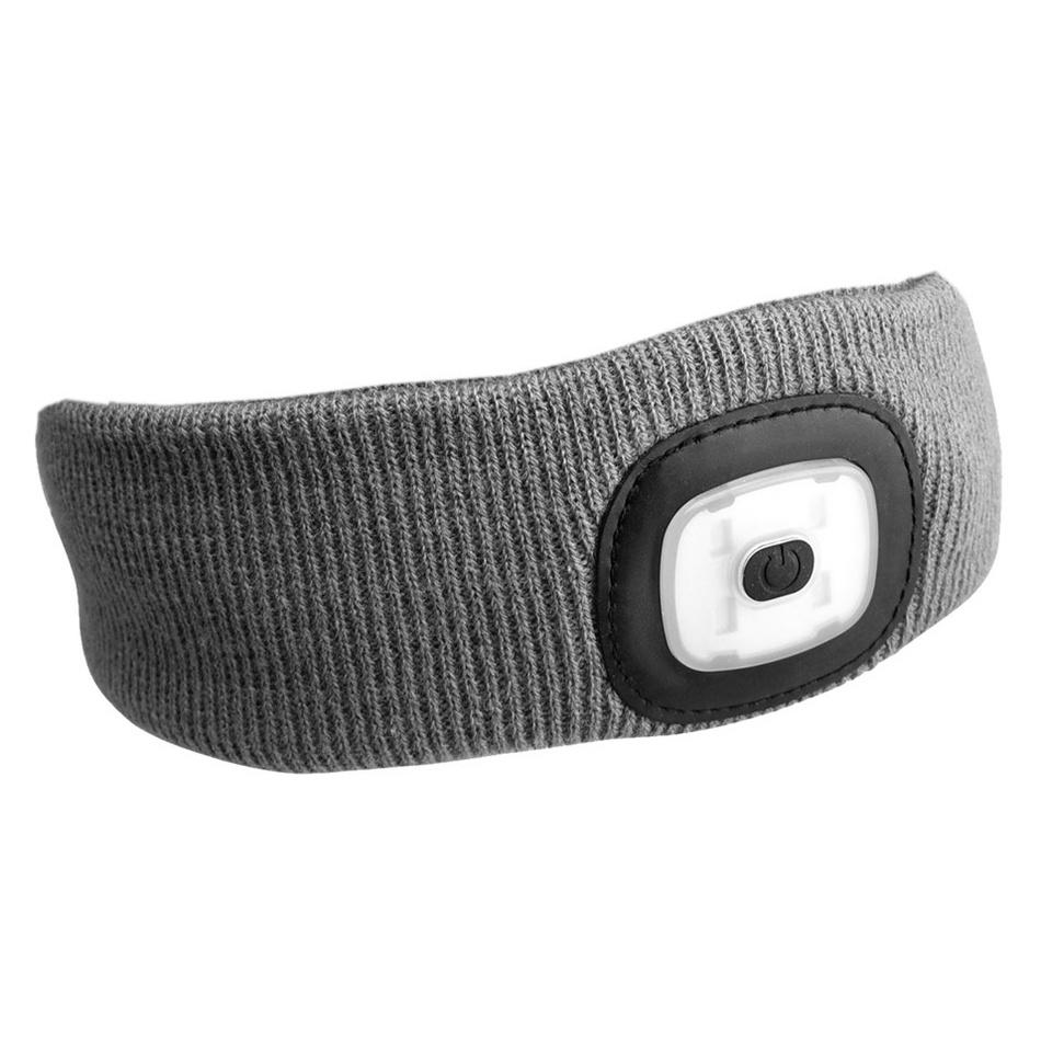 Čelenka s čelovkou 45lm, nabíjecí, USB, univerzální velikost, světle šedá SIXTOL