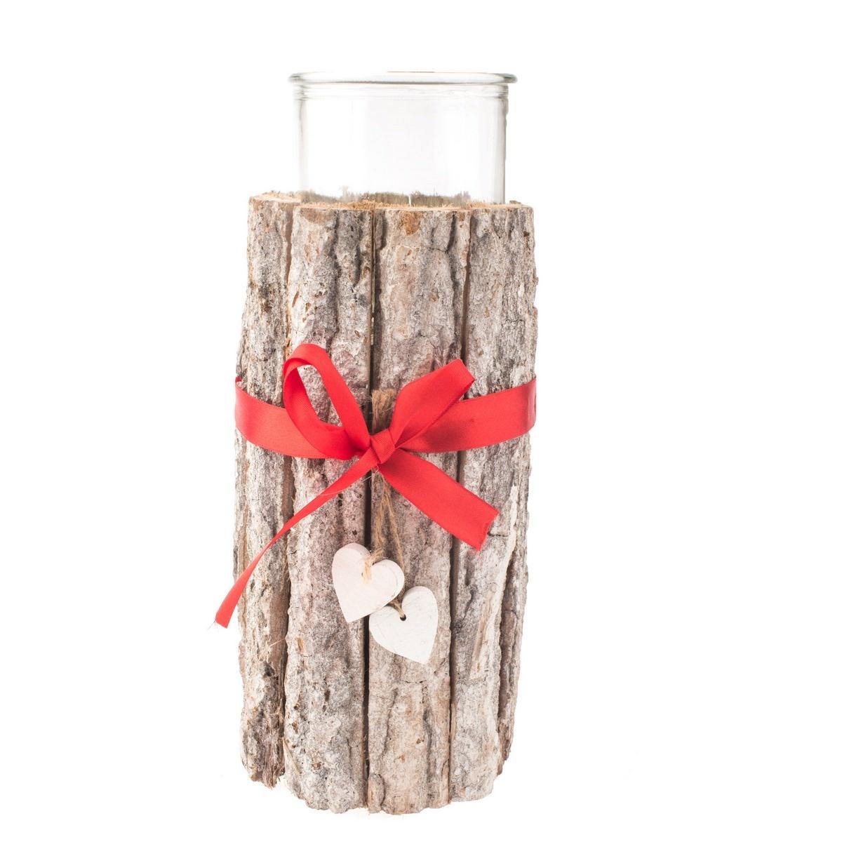 Vánoční dřevěný svícen se sklem, 12 x 25 cm