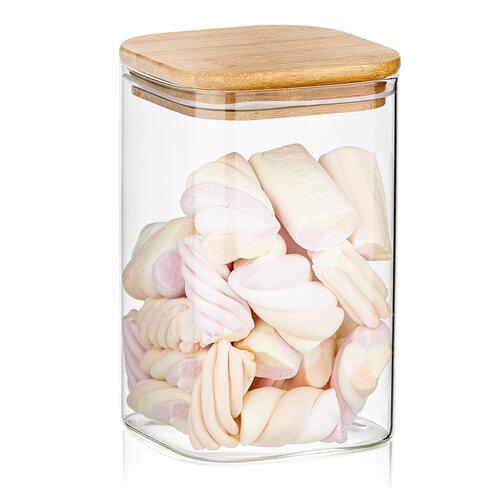 4Home Szklany pojemnik do żywności z wiekiem Bamboo, 950 ml