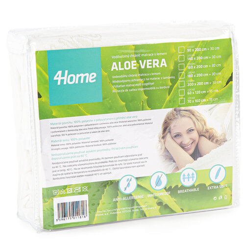 4Home Aloe Vera Nepropustný chránič matrace s lemem, 90 x 200 cm + 30 cm