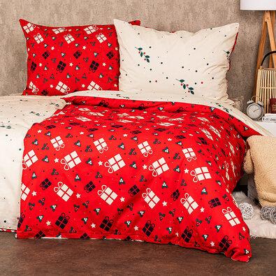 4Home Vianočné bavlnené obliečky Christmas joy, 140 x 220 cm, 70 x 90 cm