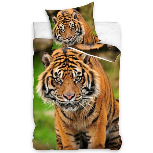 Lenjerie de pat din bumbac Tigru din India, 140 x 200 cm, 70 x 90 cm