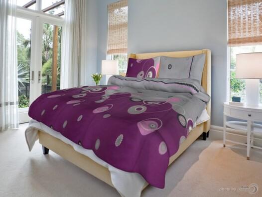 Bavlněné povlečení Perličky fialové, 140 x 200 cm, 70 x 90 cm