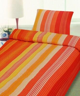 Krepové povlečení Orange 140x200, 70x90 cm, oranžová + žlutá, 140 x 200 cm, 70 x 90 cm